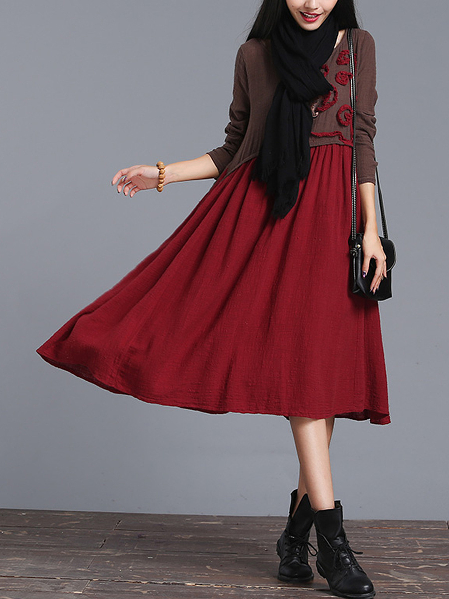 Round Neck Color Block Ruffle Trim Pocket Maxi Dress