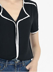 Summer  Chiffon  Women  Fold-Over Collar  Patchwork  Plain  Short Sleeve Blouses