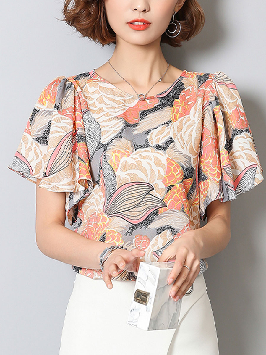 Spring Summer Chiffon Women Round Neck Floral Printed Petal Sleeve Short Sleeve Blouses