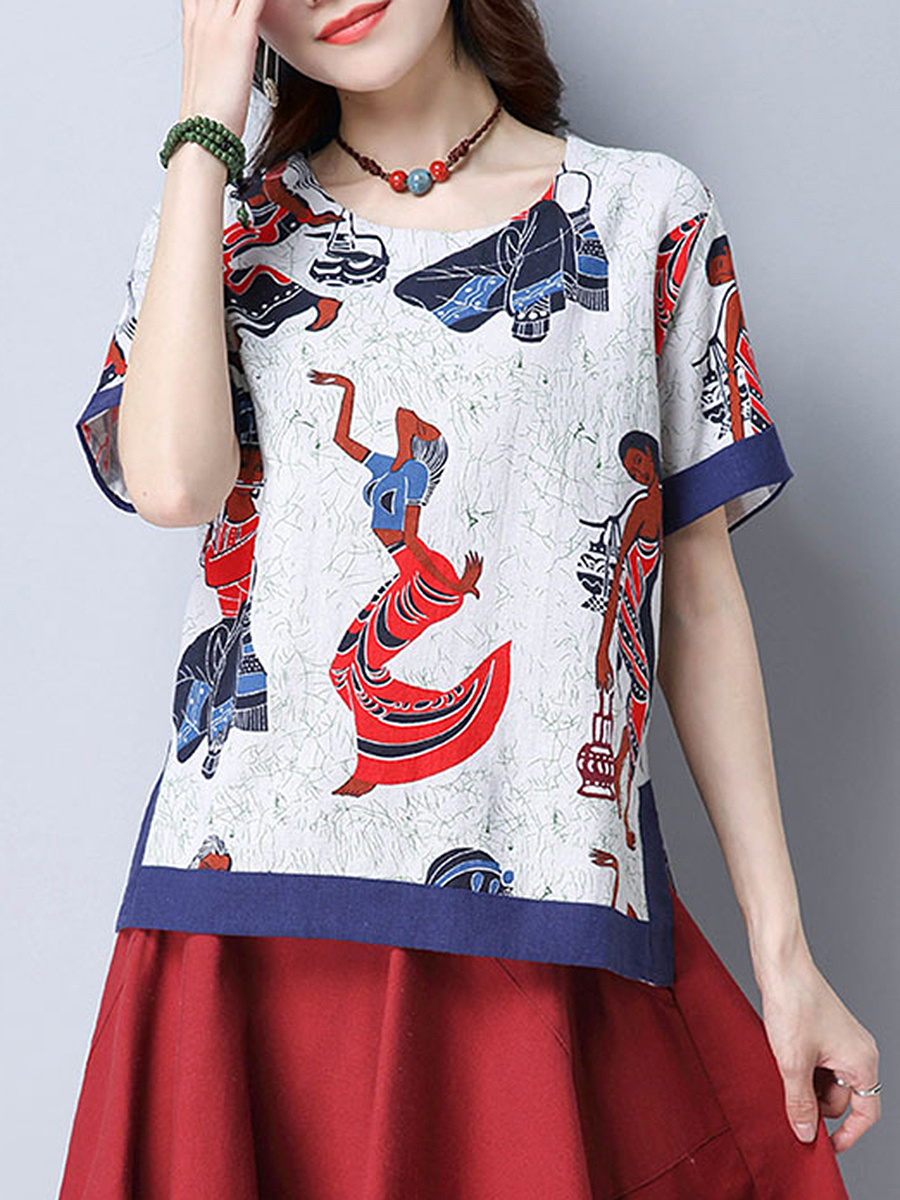 Round Neck  Side-Vented  Printed Short Sleeve T-Shirt