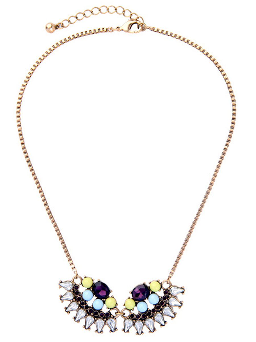 Colorful Faux Crystal Pendant Necklace