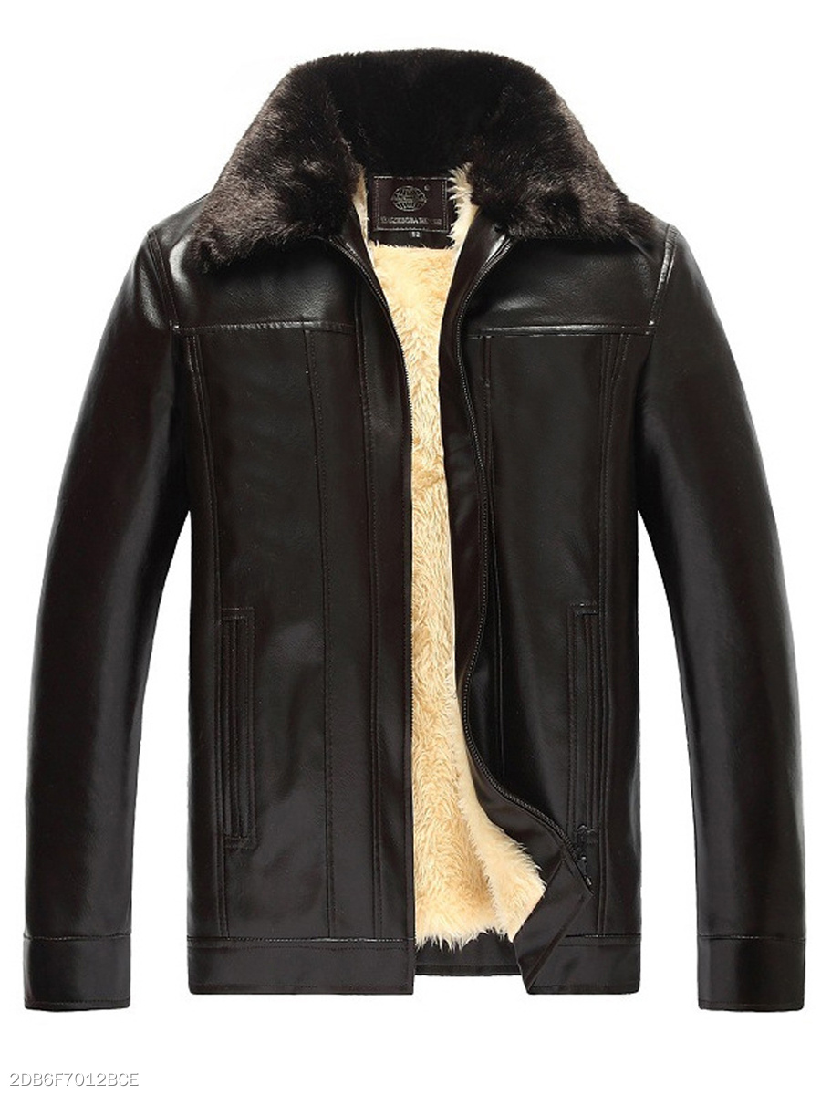 Detachable Faux Fur Collar Fleece Lined PU Leather Men Coat