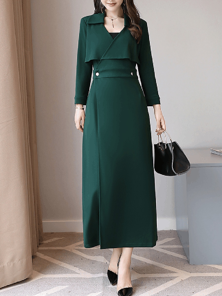 V-Neck Plain Slit Long Sleeve Maxi Dress