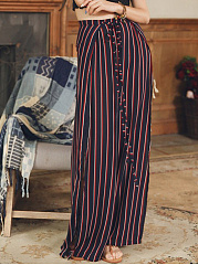 Vertical Striped High Slit Wide-Leg Casual Pants