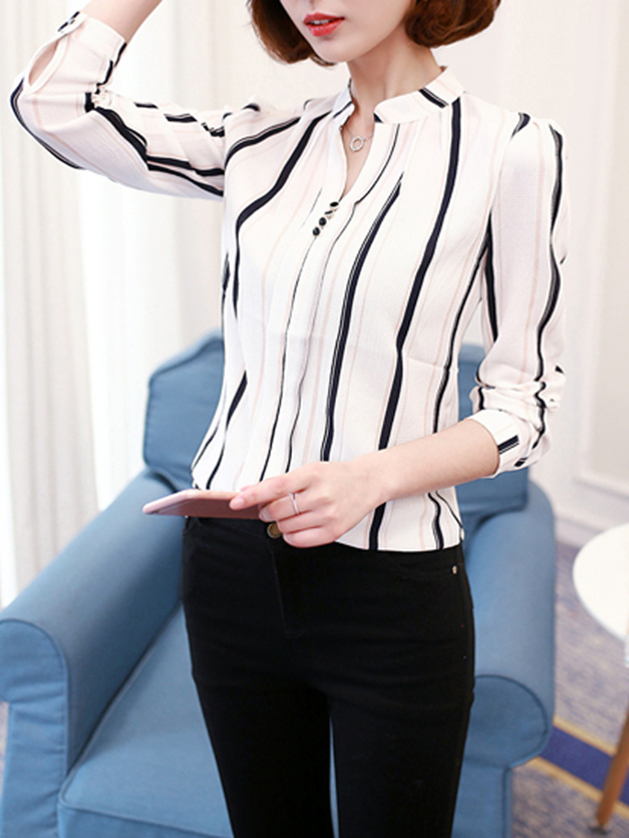 Split Neck Vertical Striped Long Sleeve T-Shirt