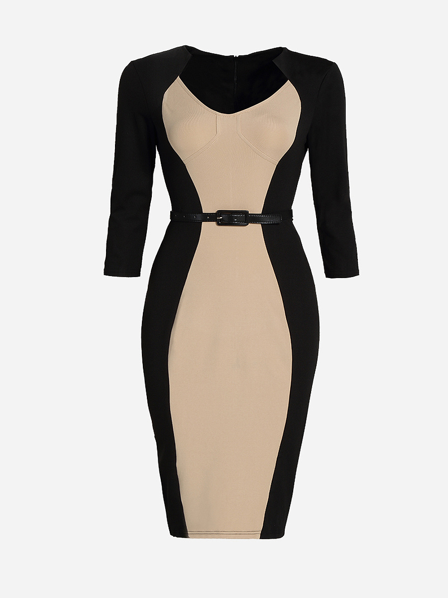 Office Slit Color Block Plus Size Bodycon Dress