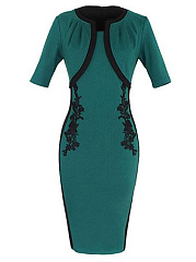 Contrast Trim Decorative Lace Bodycon Dress