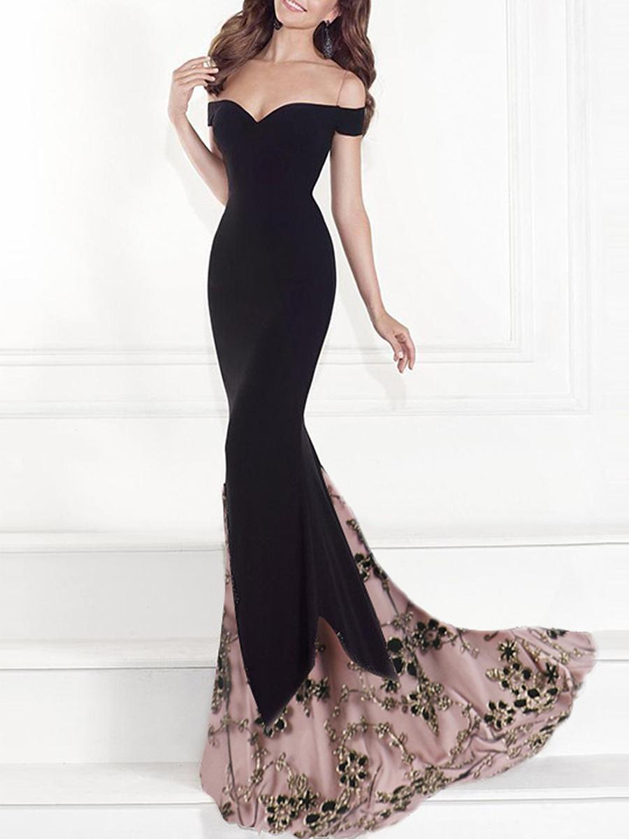Off Shoulder Decorative Lace Evening Dress