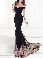 Off Shoulder Decorative Lace Evening Dress