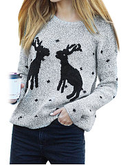 Round Neck  Asymmetric Hem  Animal Printed Sweaters