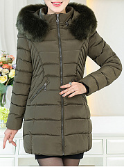 Hooded Plain Zips Pocket Quilted Padded Coat