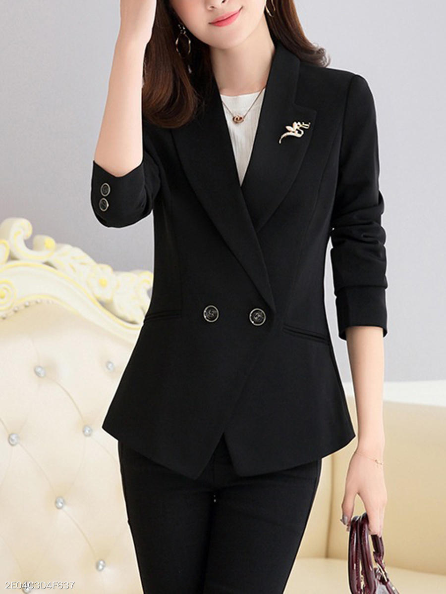 Office Notch Lapel Brooch Plain Blazer