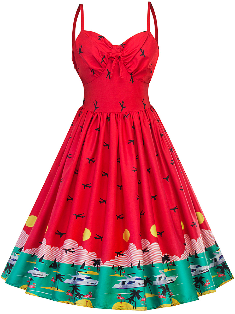 Fantastic Printed Spaghetti Strap Skater Dress
