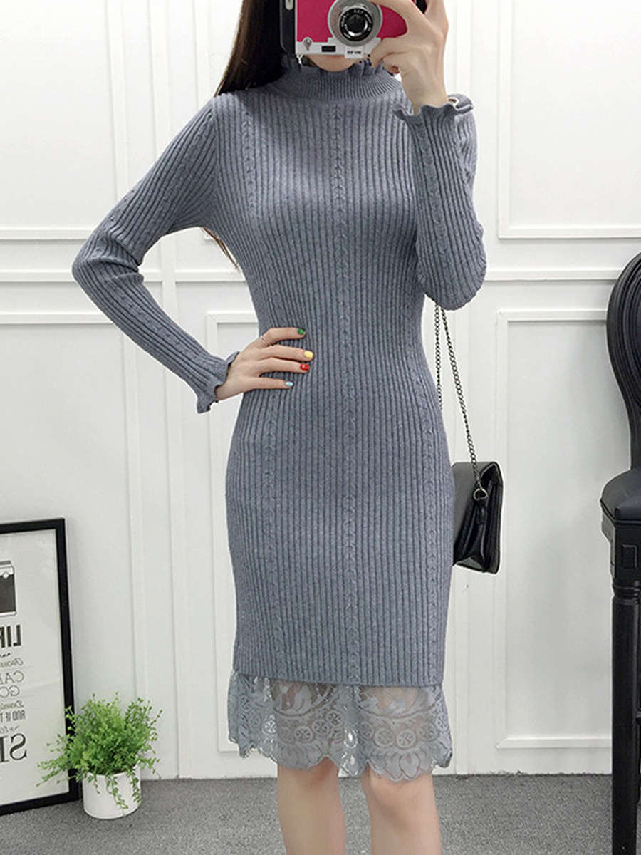 High Neck Decorative Lace Plain Knitted Bodycon Dress