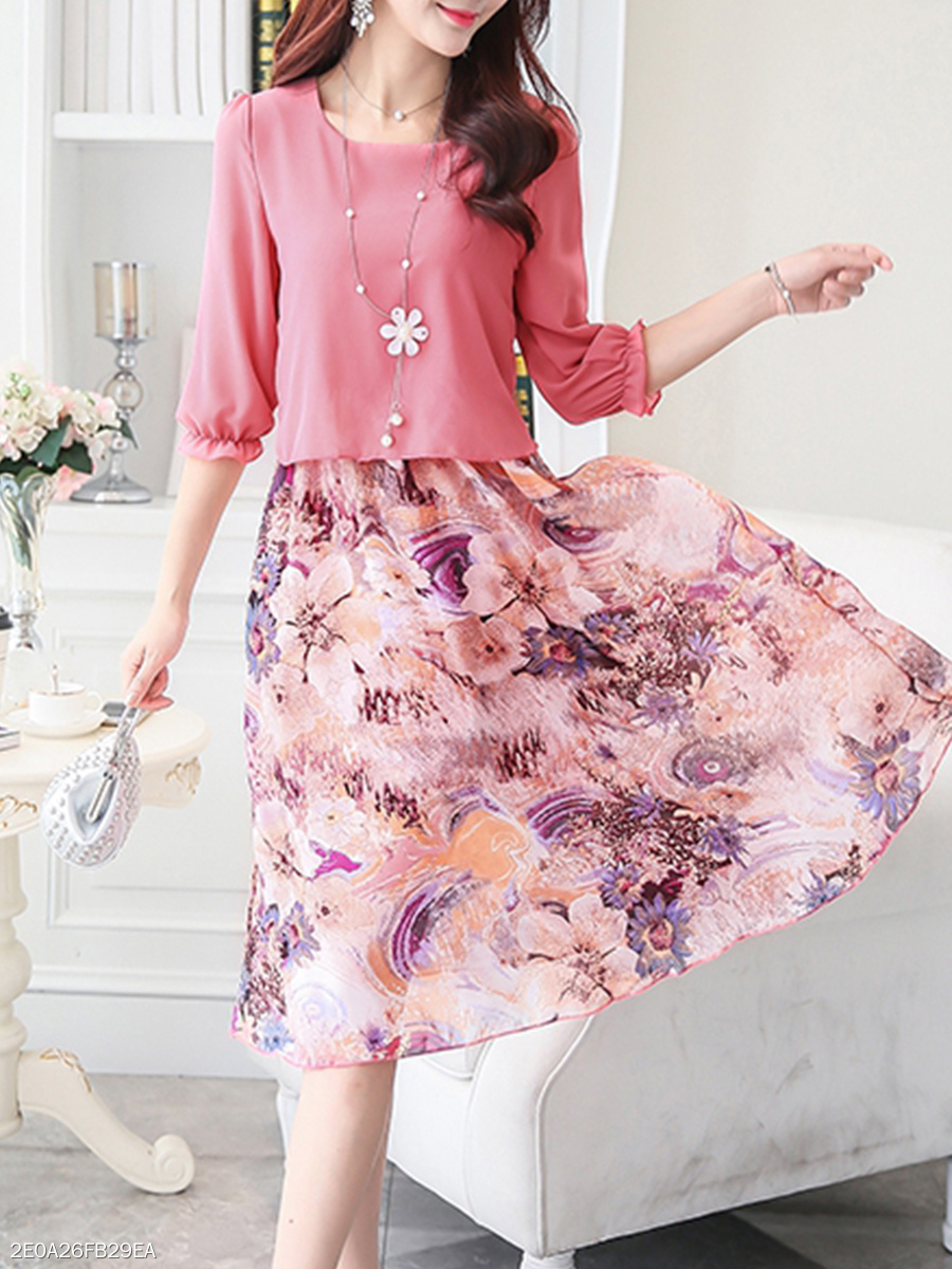 Floral Printed Round Neck  Shift Dress