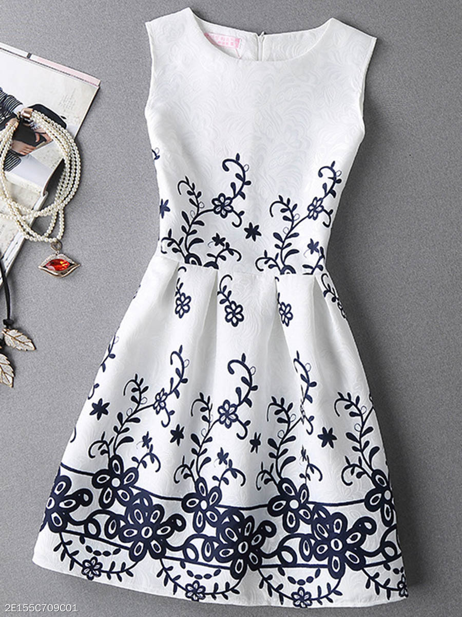 Round Neck Printed Sleeveless Mini Skater Dress