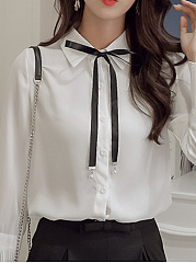 Button Down Collar  Bow  Plain  Bell Sleeve Blouses