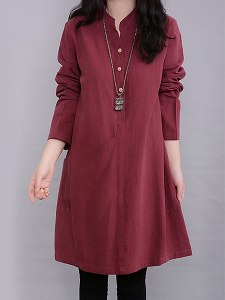 Split Neck Solid Pocket Long Sleeve Shift Dress