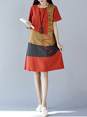 Round Neck  Patchwork  Colouring Shift Dress