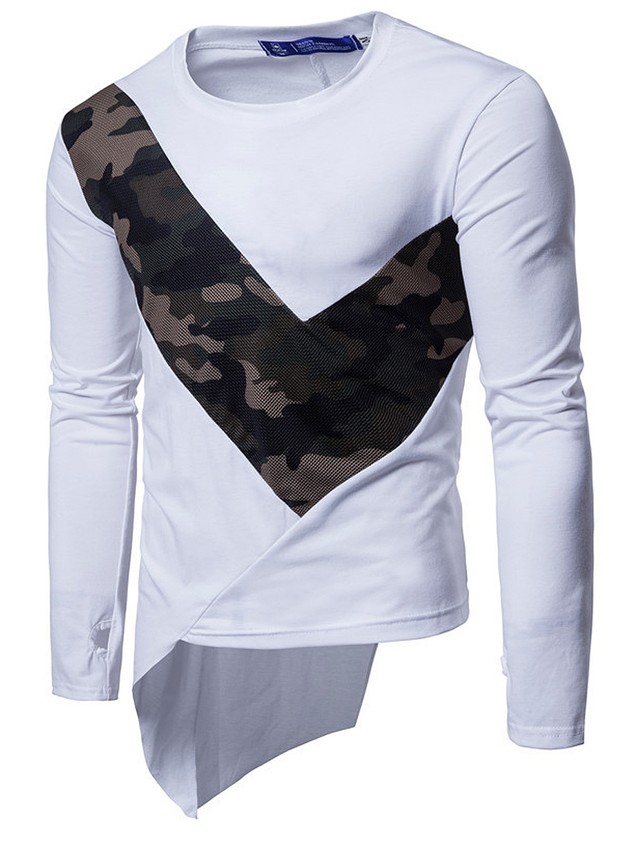 Round Neck  Asymmetric Hem Patchwork  Camouflage  Long Sleeve Long Sleeves T-Shirts