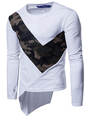 Trendy Men Asymmetric Hem Patchwork Camouflage T-Shirt