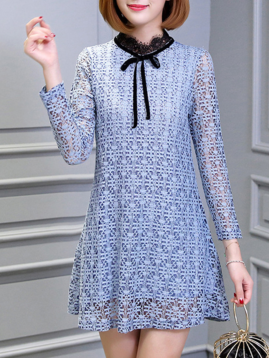 Contrast Band Collar Bowknot Hollow Out Lace Shift Dress