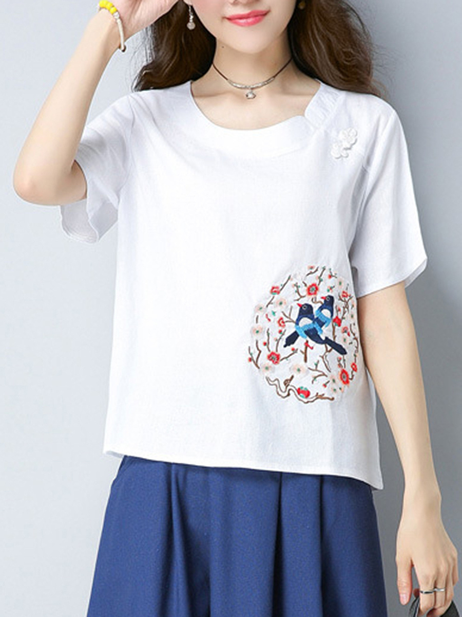 Designed Embroidery Short Sleeve T-Shirt