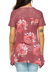 Summer  Polyester  Women  Round Neck  Decorative Lace  Floral Printed Short Sleeve T-Shirts