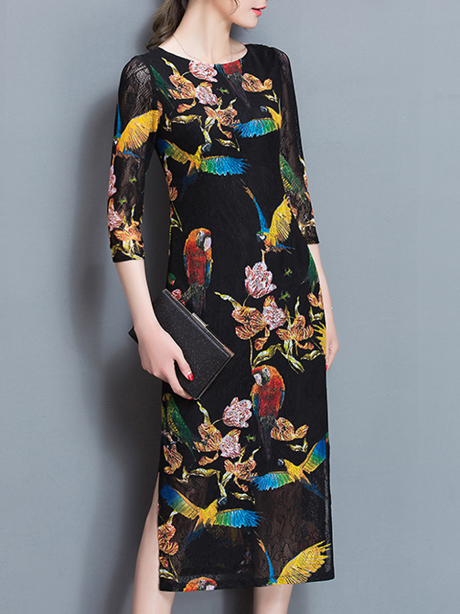 Hollow Out Printed Side Slit Bodycon Dress