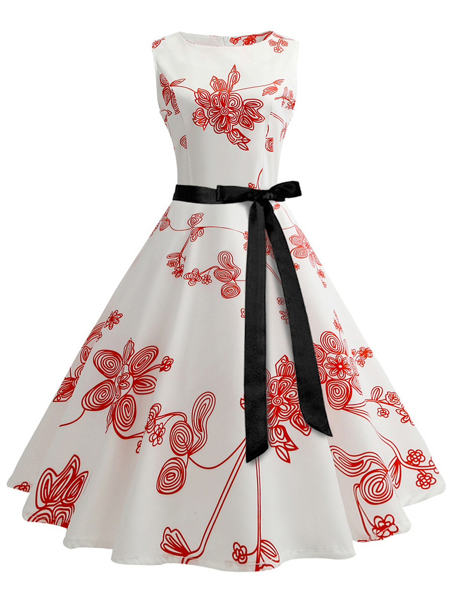 Round Neck  Bowknot  Belt  Printed  Cotton Skater Dress