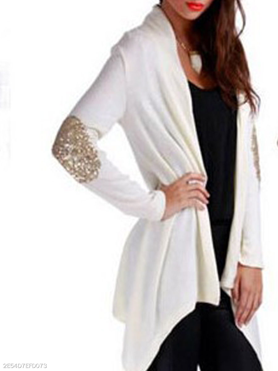 Asymmetric Hem  Glitter  Plain  Long Sleeve Cardigans