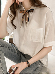 Summer  Polyester  Women  Tie Collar  Patch Pocket  Plain  Half Sleeve Blouses