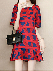 Round Neck  Printed Heart Shift Dress