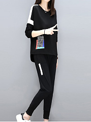 Round Neck  Asymmetric Hem  Contrast Piping  Letters Sweatshirts