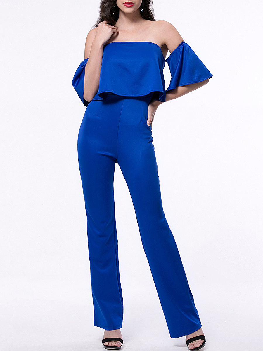 Stylish Solid Flounce Off Shoulder Straight Jumpsuit