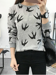 Autumn Spring  Polyester  Women  Round Neck  Animal Birdie Printed Long Sleeve T-Shirts