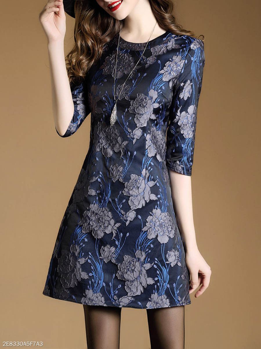 Elegant Round Neck Floral Skater Dress