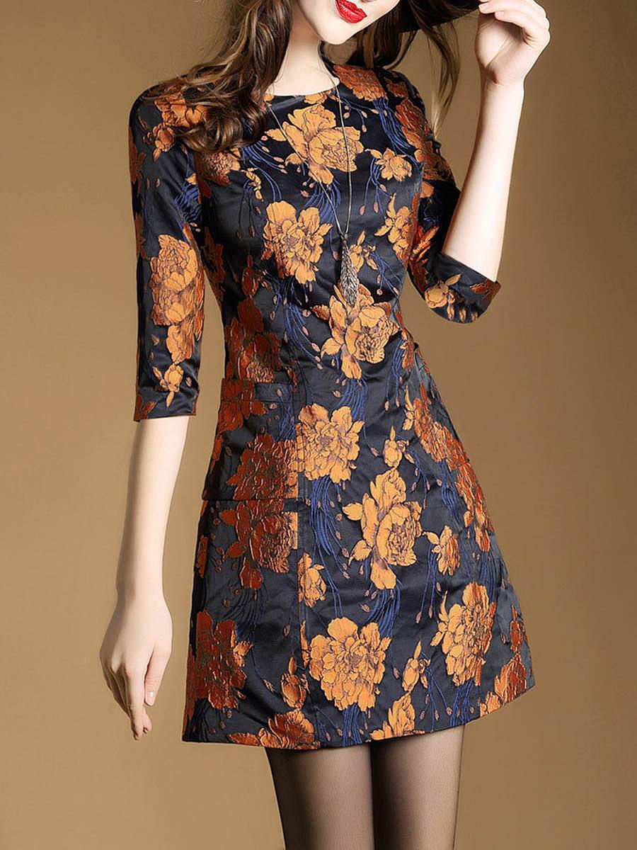 Elegant Round Neck Floral Skater Dress