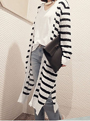 Collarless  Slit  Striped  Long Sleeve Cardigans