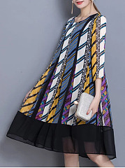 Round Neck  Patchwork  Printed  Polyester Shift Dress