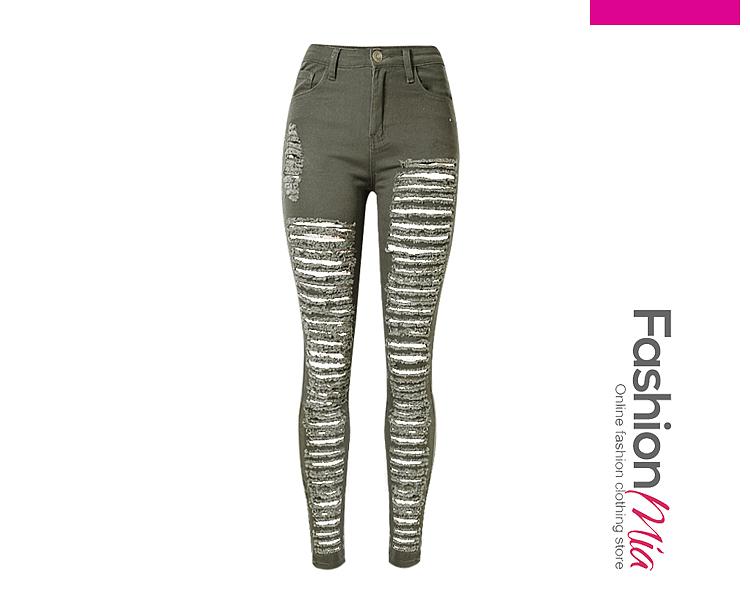Ripped Plain Slim-Leg Mid-Rise Jean