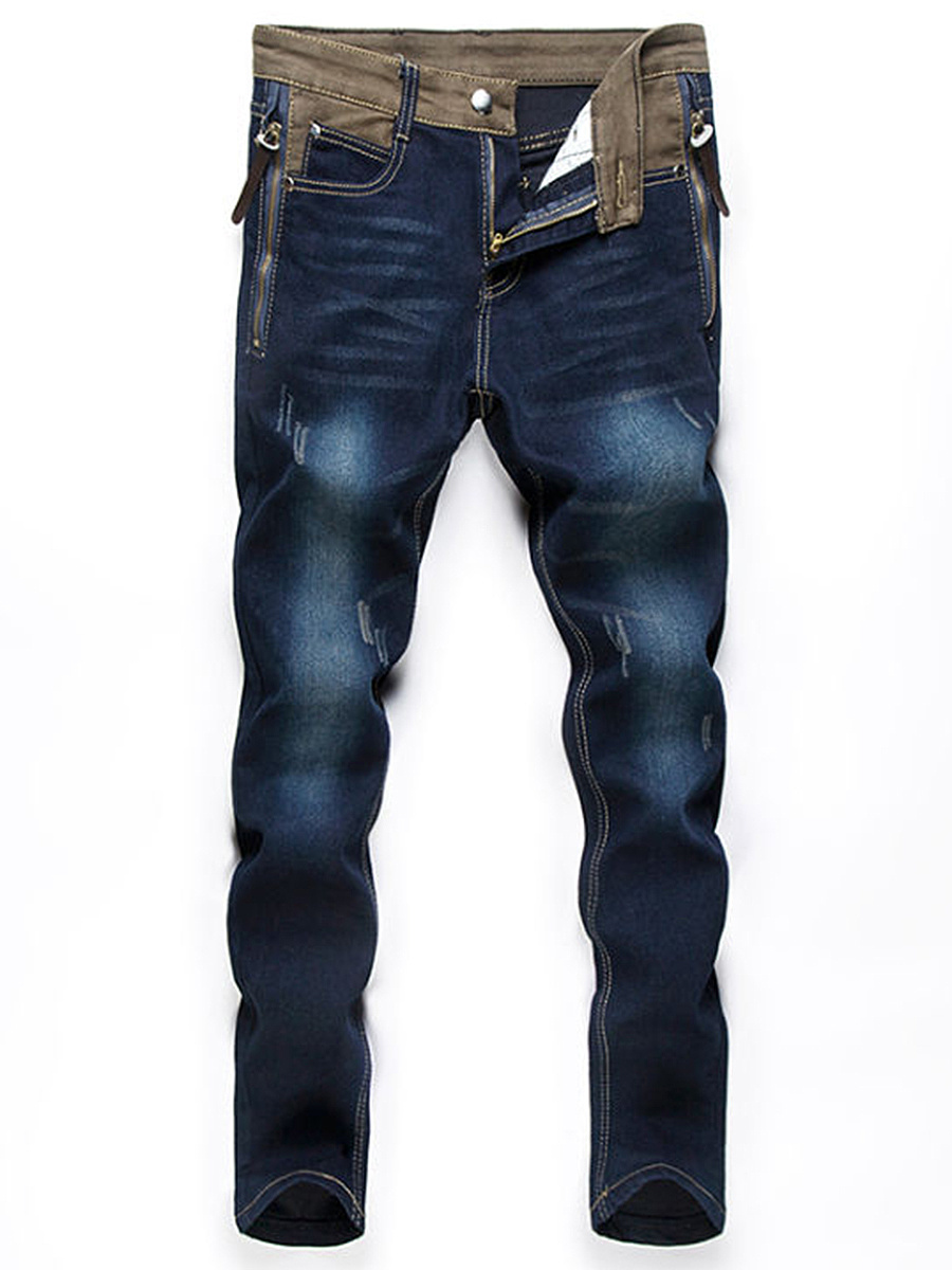 Color Block Patch Pocket Zips Ripped Straight Men's Jeans