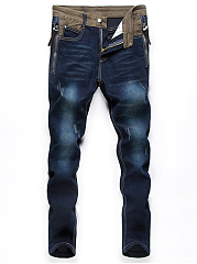 Color-Block-Patch-Pocket-Zips-Ripped-Straight-Mens-Jeans