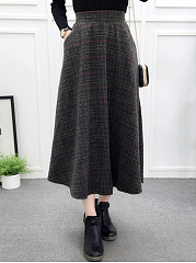 Elastic Waist Plaid Pocket Flared Maxi Skirt