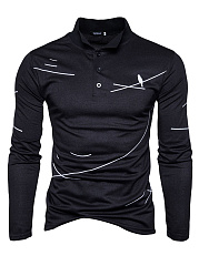 Special Printed Men Polo Collar Long Sleeve T-Shirt