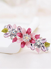 Elegance Floral And Leaves Rhinestone Hair Clip
