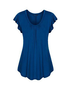 Summer  Polyester  Women  Round Neck  Plain Short Sleeve T-Shirts