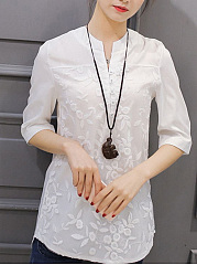 Spring Summer  CottonLinen  Band Collar  Brocade  Half Sleeve Blouse