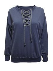 Split-Neck-Lace-Up-Plain-Sweatshirts