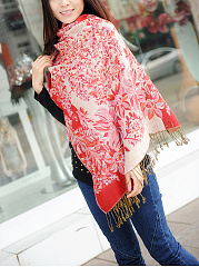 Ladies Floral Printed  Cotton Shawl Scarf Winter Warm Luxury Brand Tassel Long Scarves